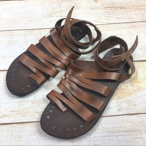 Free People strappy leather ankle wrap sandals 37